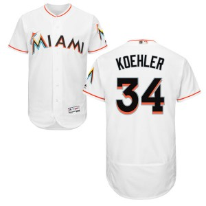 Men's Tom Koehler Miami Marlins Authentic White Home Flex Base Collection Jersey by Majestic